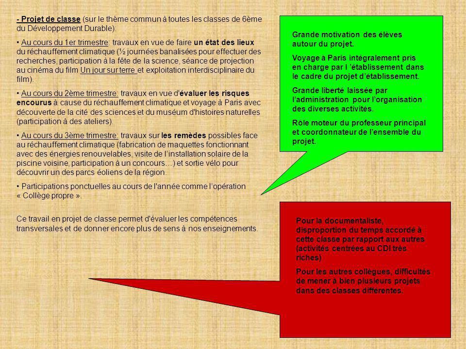 - Projet de classe (sur le thème commun à toutes les classes de 6ème du Développement Durable):