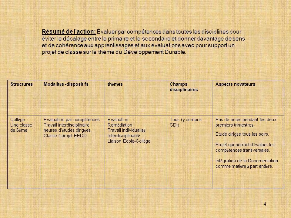 Résumé de l'action: Évaluer par compétences dans toutes les disciplines pour éviter le décalage entre le primaire et le secondaire et donner davantage de sens et de cohérence aux apprentissages et aux évaluations avec pour support un projet de classe sur le thème du Développement Durable.