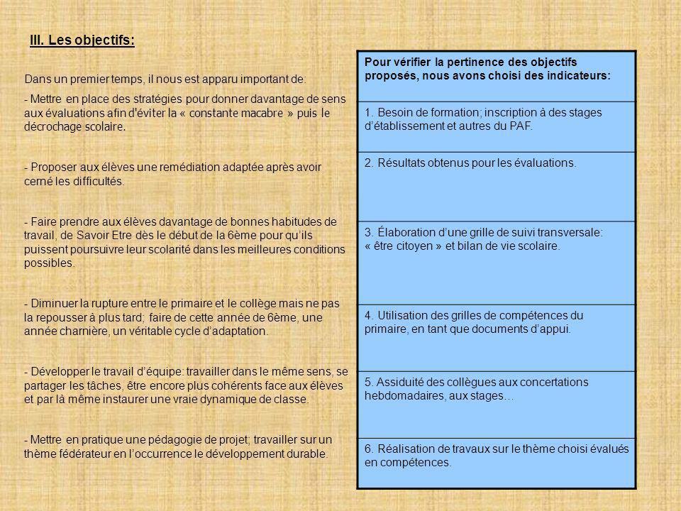 III. Les objectifs: Pour vérifier la pertinence des objectifs proposés, nous avons choisi des indicateurs: