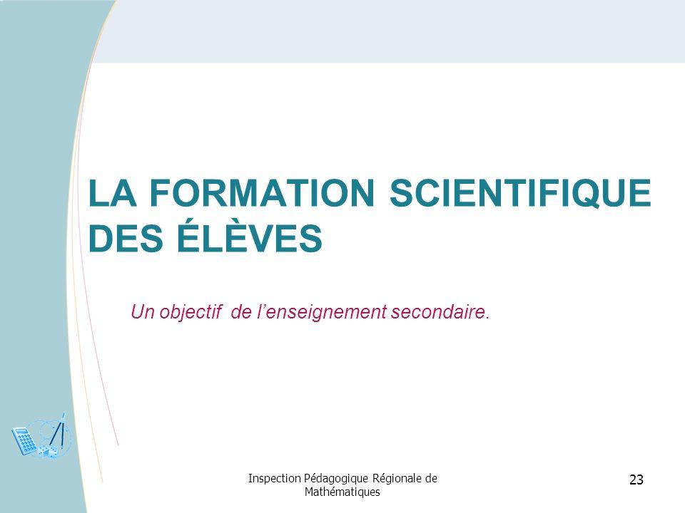 La formation scientifique des élèves