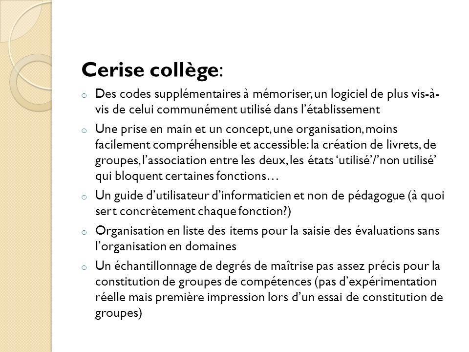 Cerise collège:Des codes supplémentaires à mémoriser, un logiciel de plus vis-à- vis de celui communément utilisé dans l'établissement.