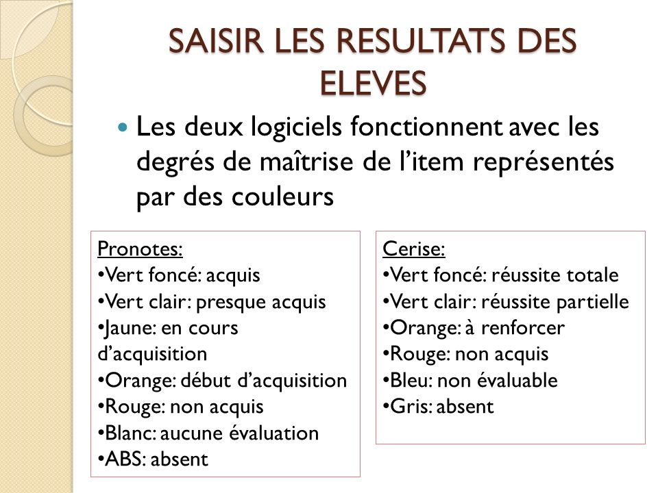 SAISIR LES RESULTATS DES ELEVES