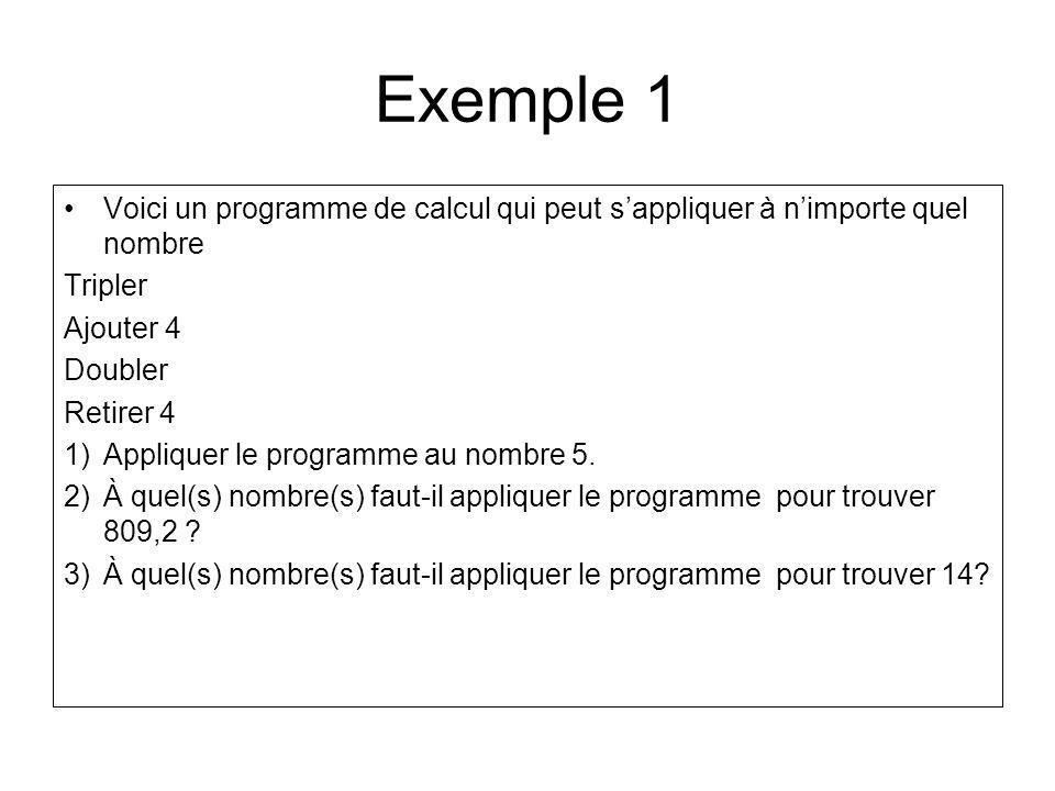 Exemple 1 Voici un programme de calcul qui peut s'appliquer à n'importe quel nombre. Tripler. Ajouter 4.