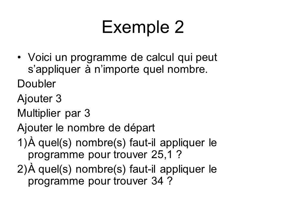 Exemple 2 Voici un programme de calcul qui peut s'appliquer à n'importe quel nombre. Doubler. Ajouter 3.