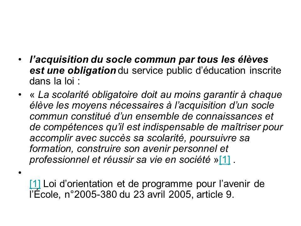 l'acquisition du socle commun par tous les élèves est une obligation du service public d'éducation inscrite dans la loi :