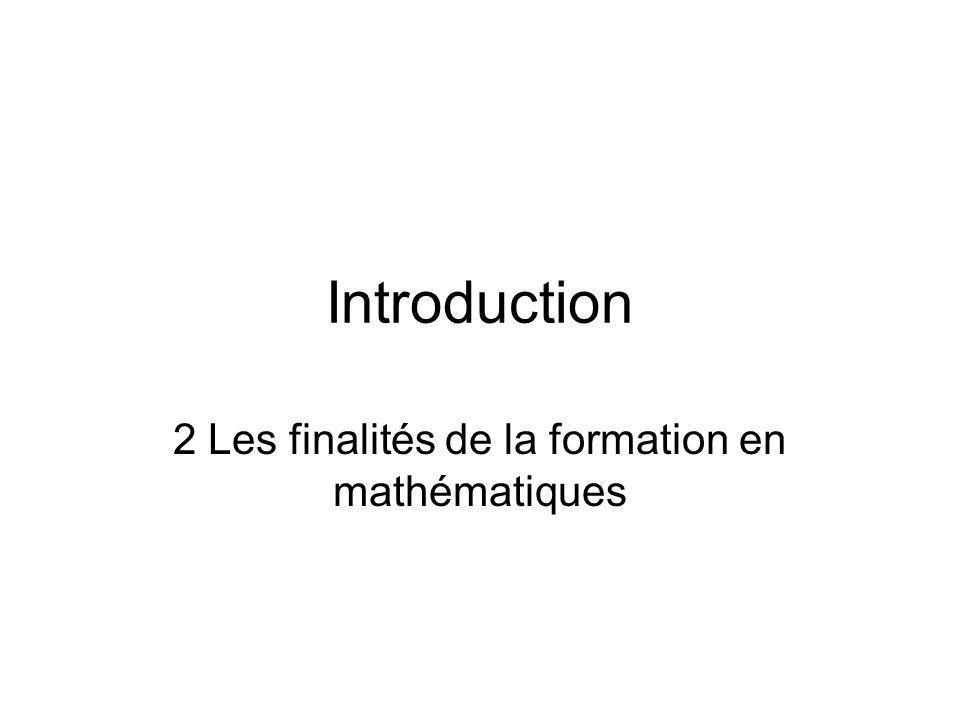 2 Les finalités de la formation en mathématiques