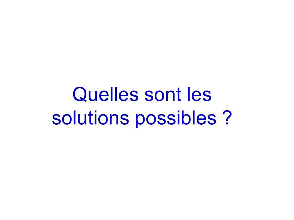 Quelles sont les solutions possibles