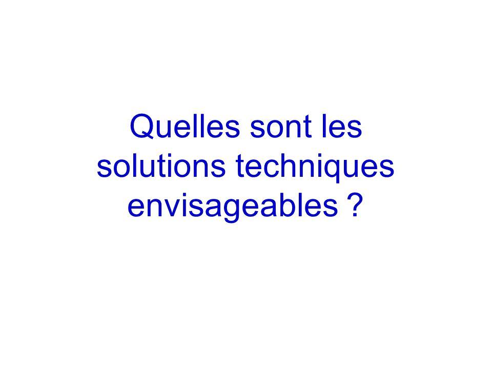 Quelles sont les solutions techniques envisageables