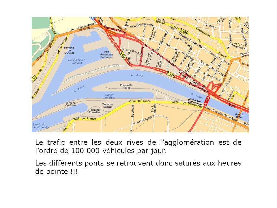 Le trafic entre les deux rives de l'agglomération est de l'ordre de 100 000 véhicules par jour.