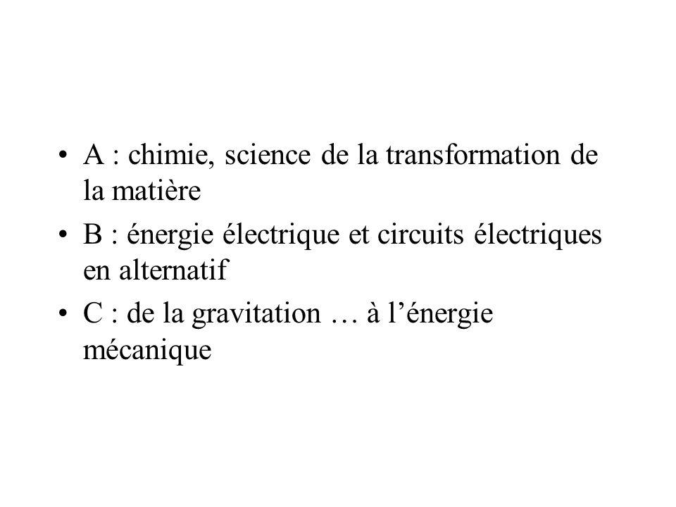 A : chimie, science de la transformation de la matière