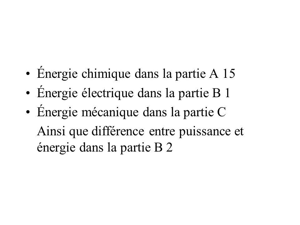 Énergie chimique dans la partie A 15