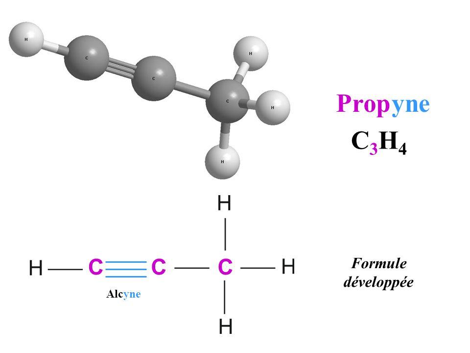Prop yne C3H4 C C C Formule développée Alcyne