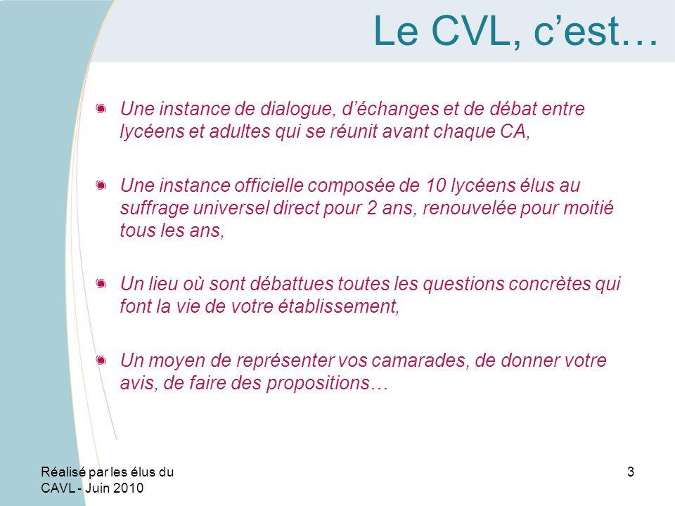 Le CVL, c'est… Une instance de dialogue, d'échanges et de débat entre lycéens et adultes qui se réunit avant chaque CA,