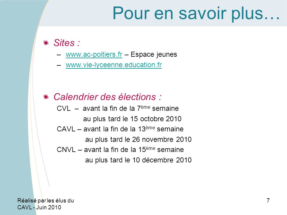Pour en savoir plus… Sites : Calendrier des élections :