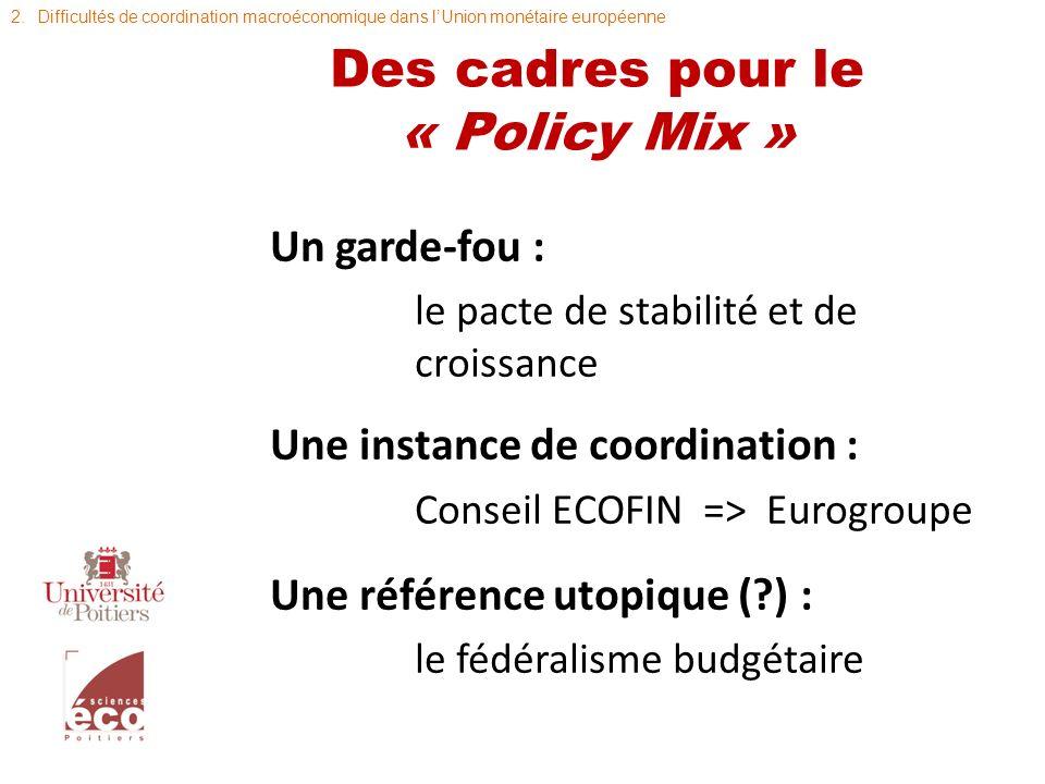 Des cadres pour le « Policy Mix »