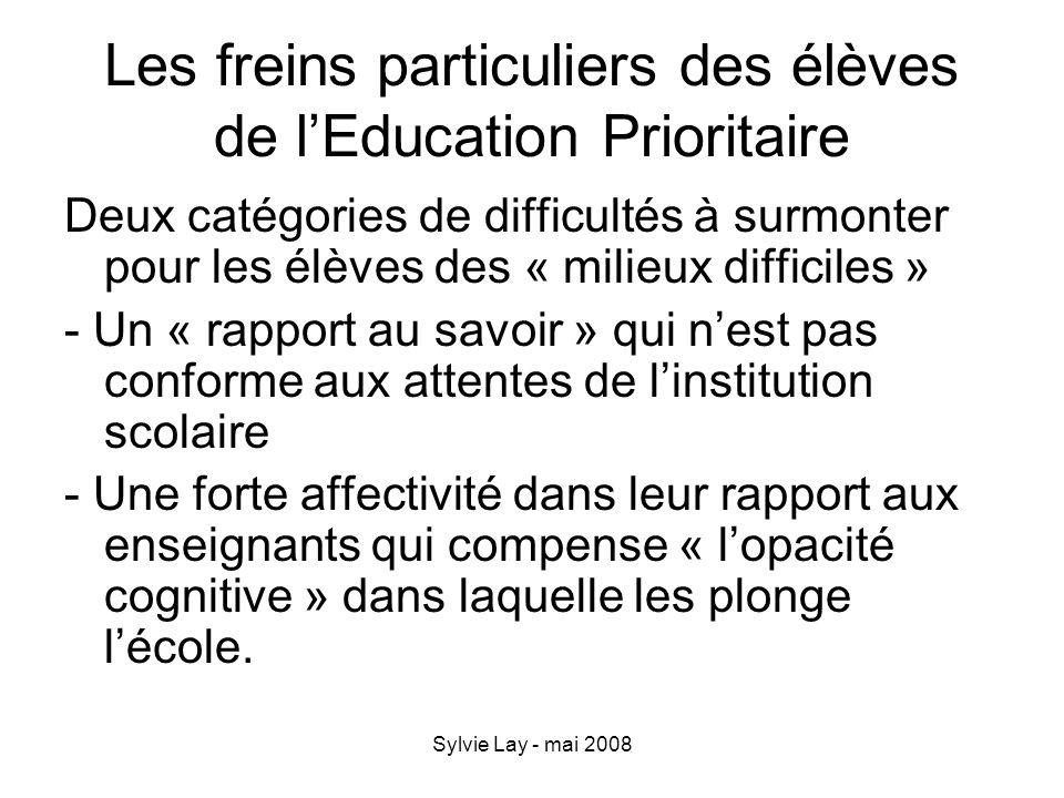 Les freins particuliers des élèves de l'Education Prioritaire