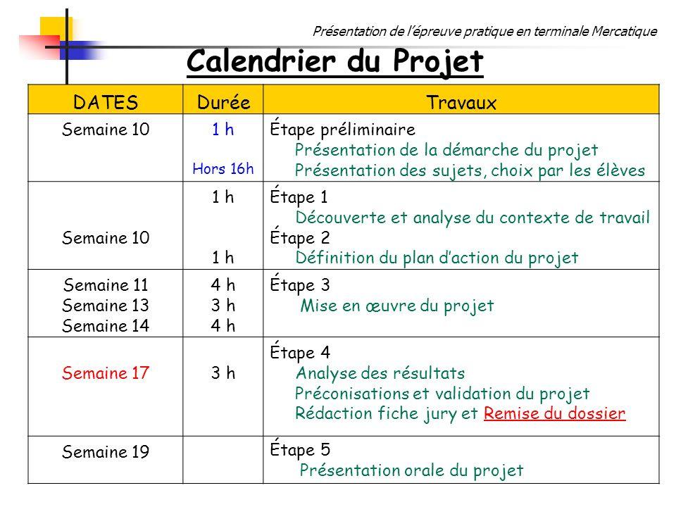 Calendrier du Projet DATES Durée Travaux Semaine 10 1 h