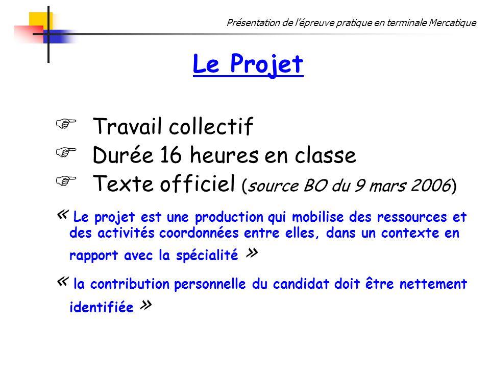 Le Projet Travail collectif Durée 16 heures en classe