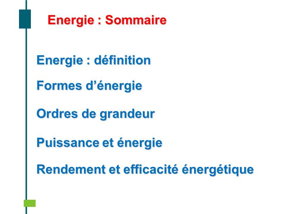 Energie : SommaireEnergie : définition. Formes d'énergie. Ordres de grandeur. Puissance et énergie.