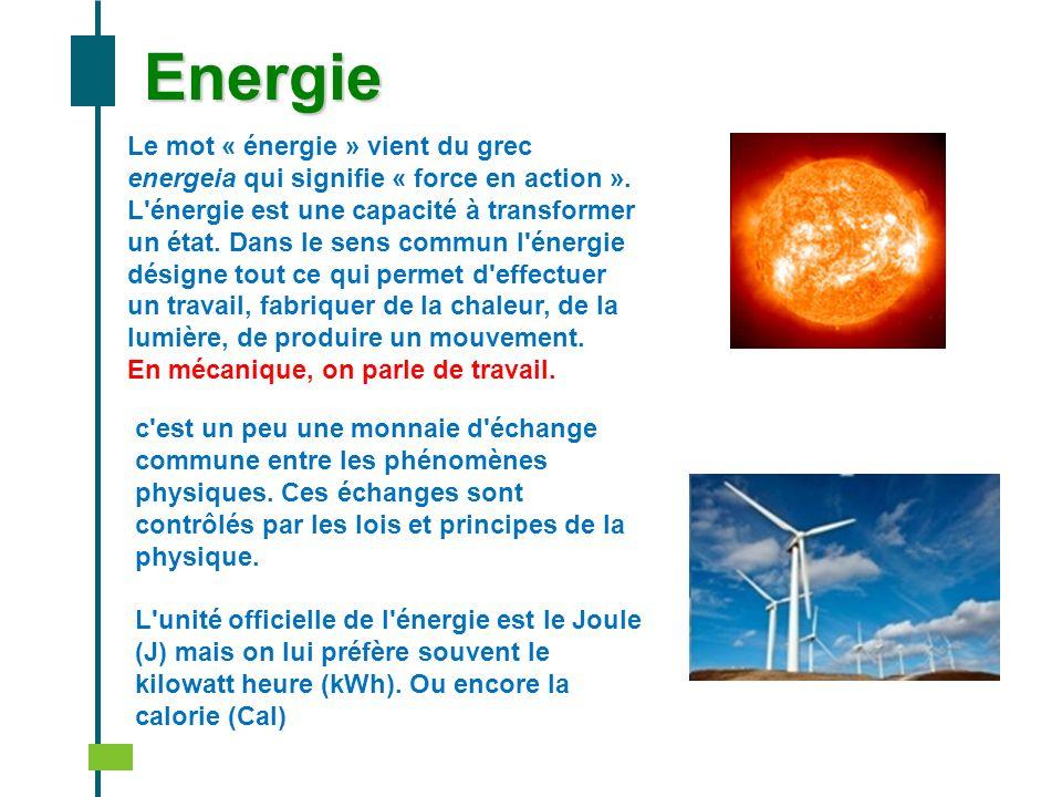 EnergieLe mot « énergie » vient du grec energeia qui signifie « force en action ».