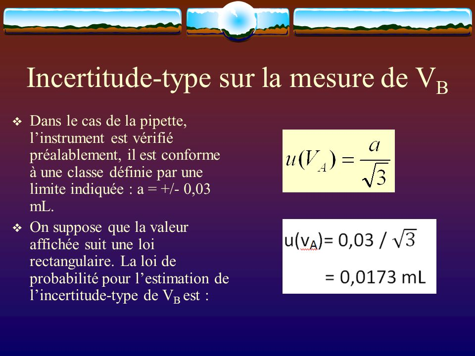 Incertitude-type sur la mesure de VB