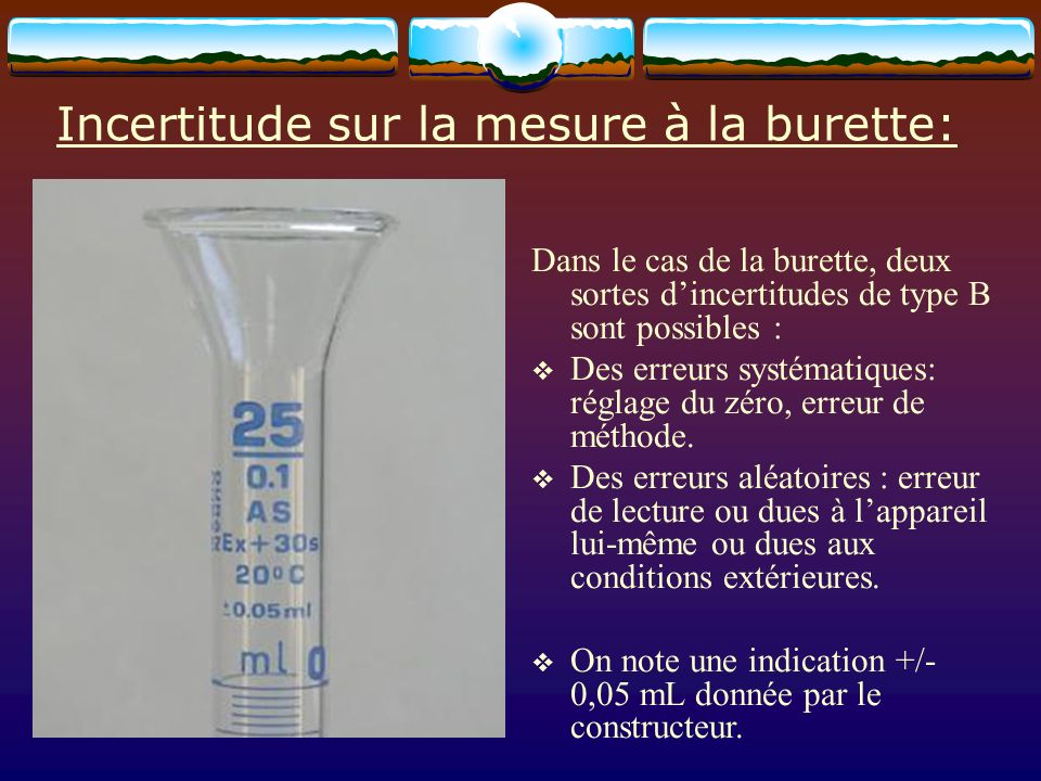 Incertitude sur la mesure à la burette: