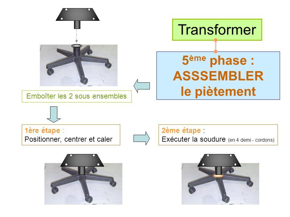 Transformer 5ème phase : ASSSEMBLER le piètement