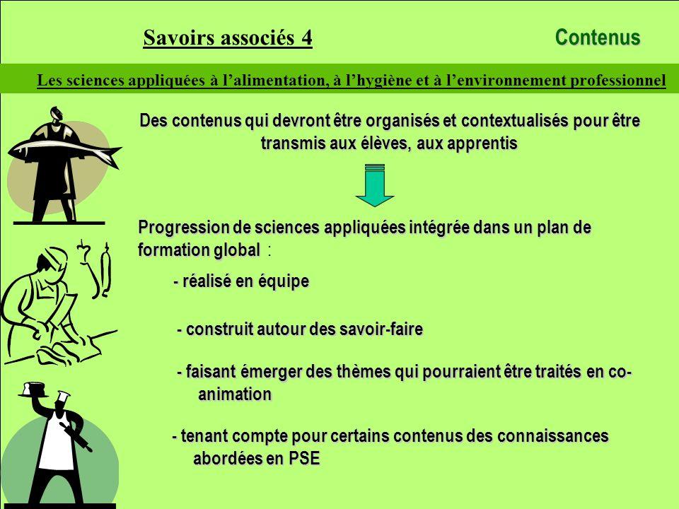 Savoirs associés 4 Contenus