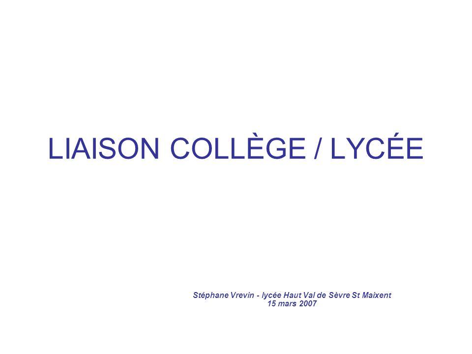 LIAISON COLLÈGE / LYCÉE