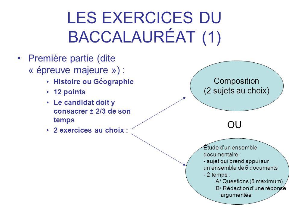 LES EXERCICES DU BACCALAURÉAT (1)