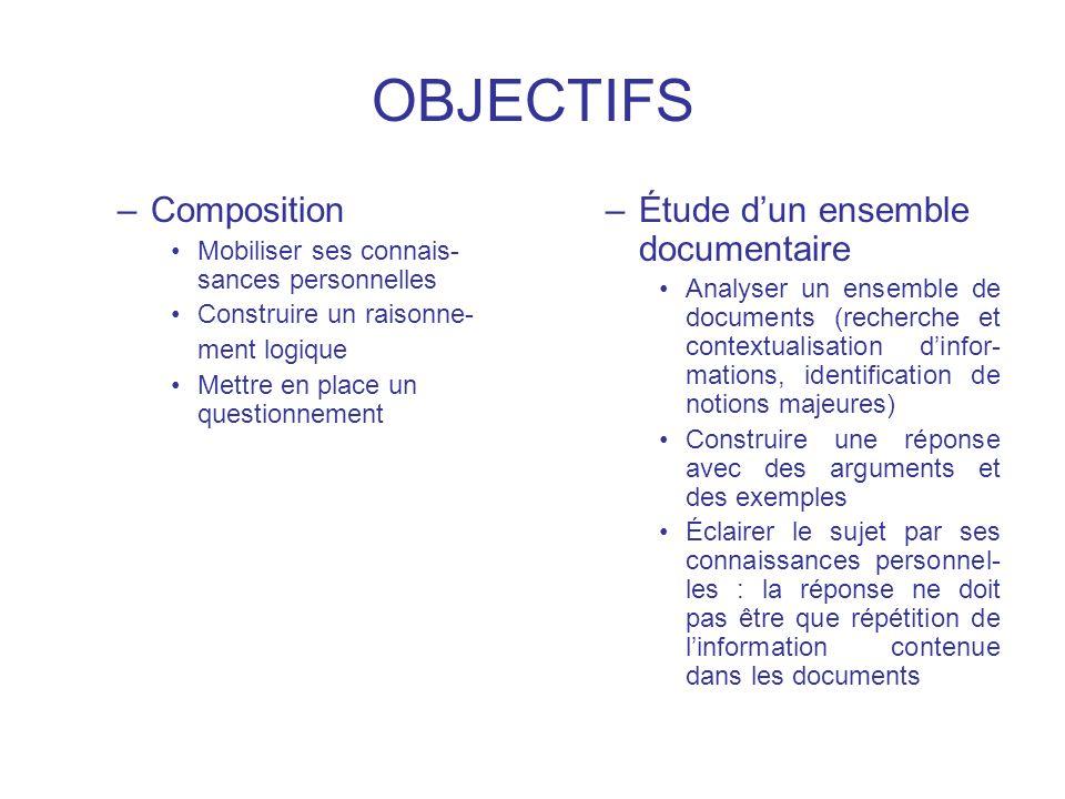 OBJECTIFS Composition Étude d'un ensemble documentaire