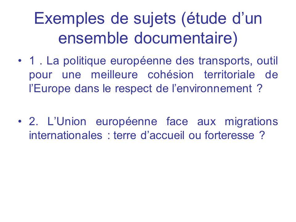 Exemples de sujets (étude d'un ensemble documentaire)