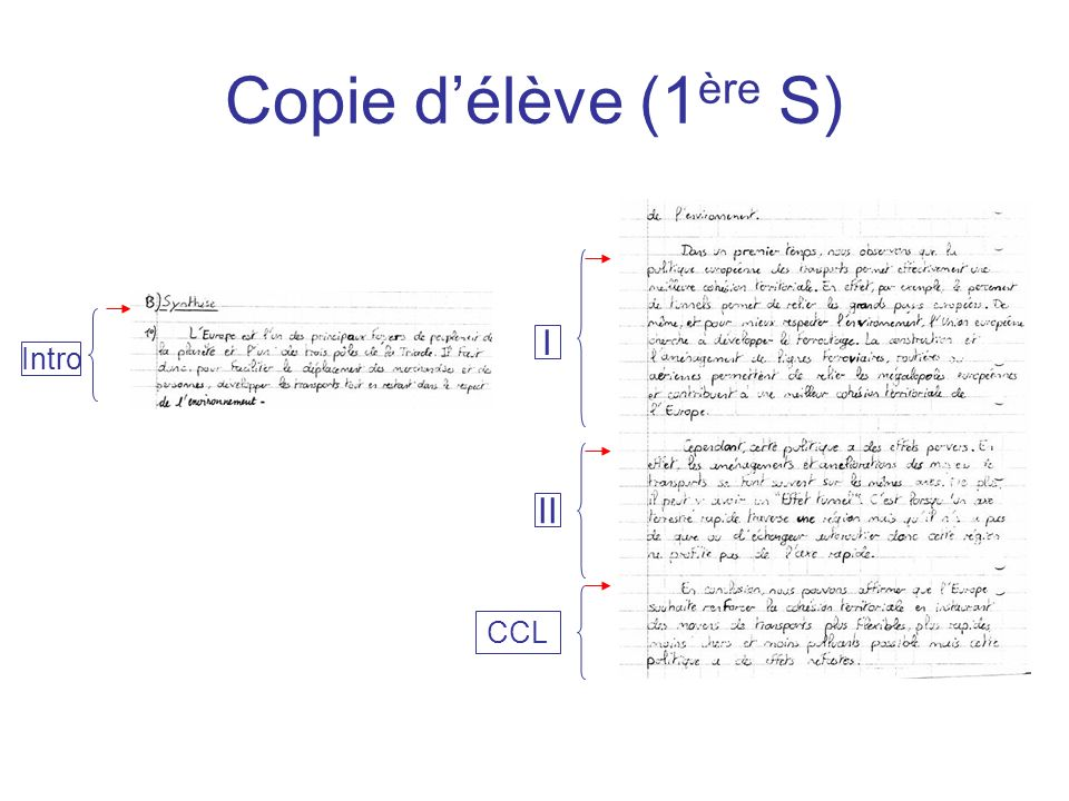 Copie d'élève (1ère S) I Intro II CCL