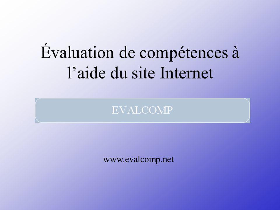 Évaluation de compétences à l'aide du site Internet