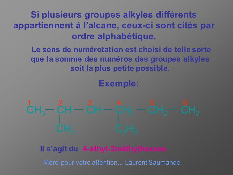 Si plusieurs groupes alkyles différents appartiennent à l'alcane, ceux-ci sont cités par ordre alphabétique.