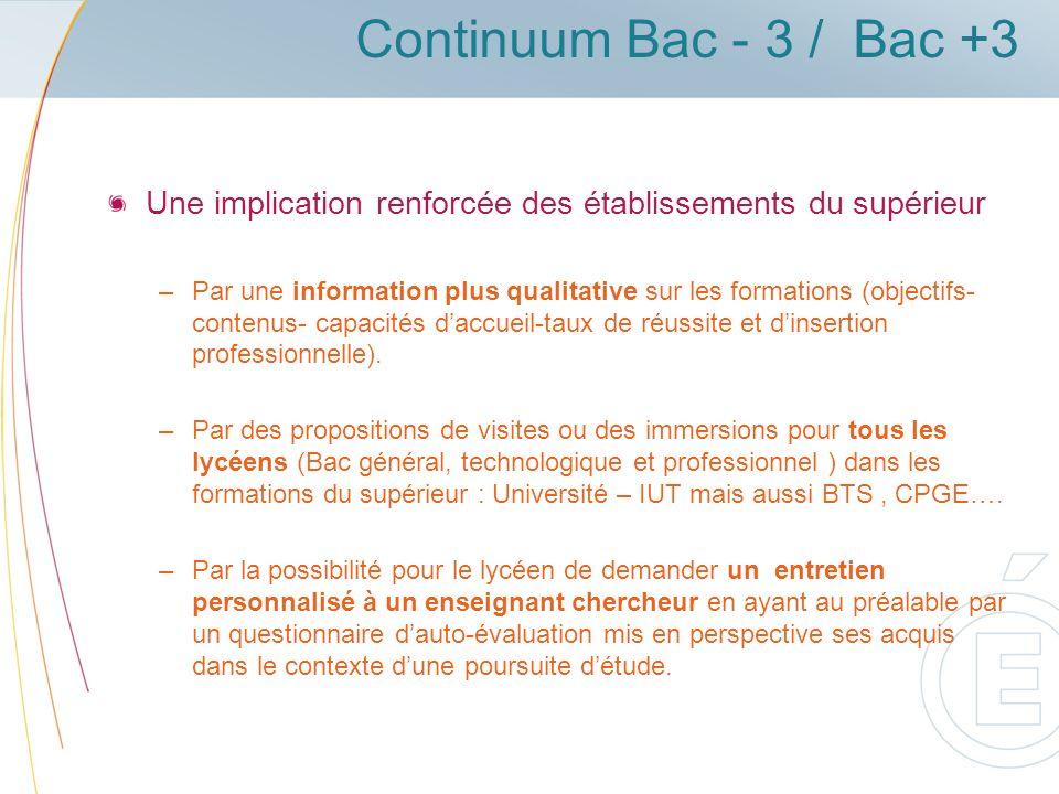 Continuum Bac - 3 / Bac +3 Une implication renforcée des établissements du supérieur.