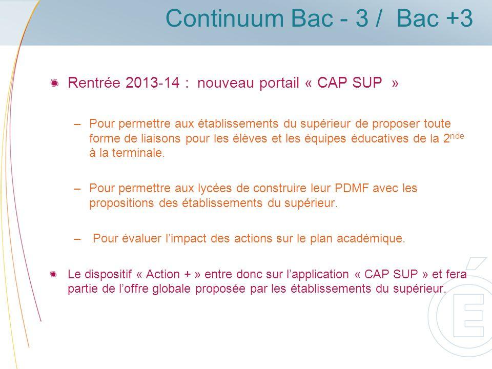 Continuum Bac - 3 / Bac +3 Rentrée 2013-14 : nouveau portail « CAP SUP »