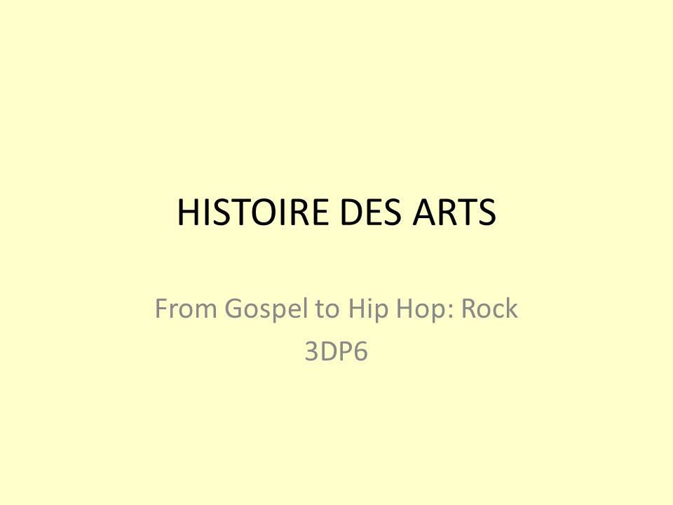 From Gospel to Hip Hop: Rock 3DP6