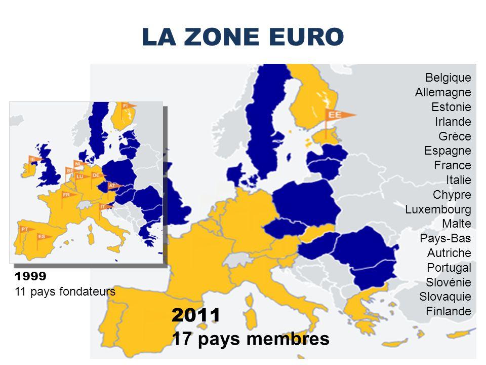 LA ZONE EURO 2011 17 pays membres Belgique Allemagne Estonie Irlande