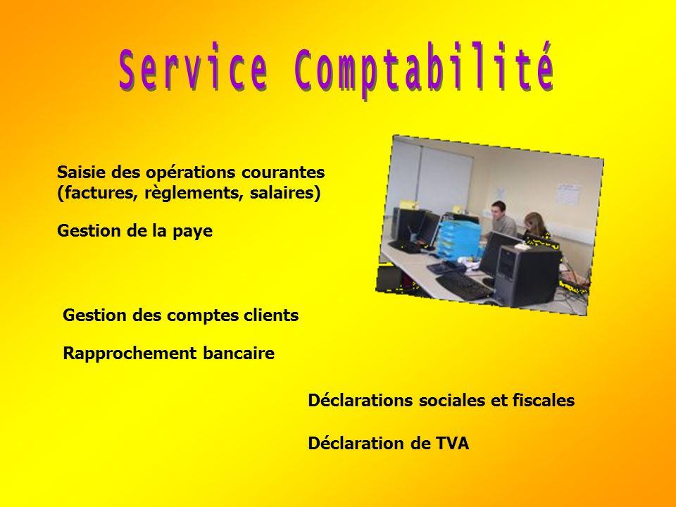 Service Comptabilité Saisie des opérations courantes (factures, règlements, salaires) Gestion de la paye.