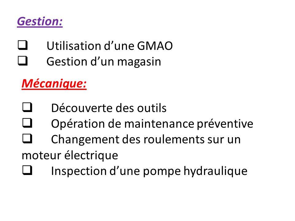 Gestion: Utilisation d'une GMAO. Gestion d'un magasin. Mécanique: Découverte des outils. Opération de maintenance préventive.