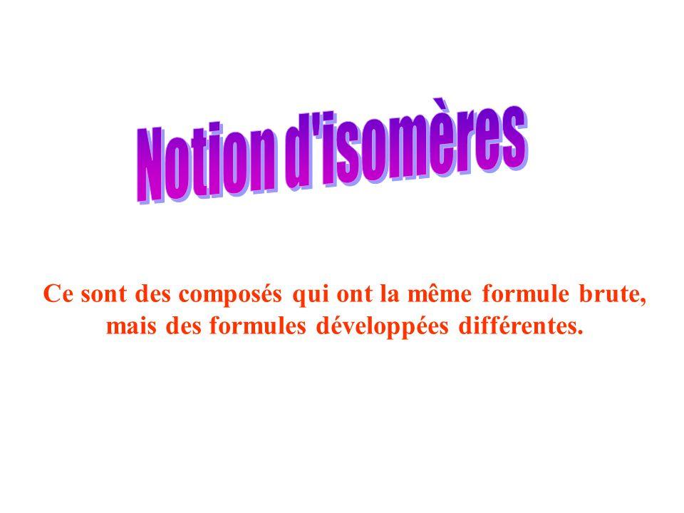 Notion d isomères Ce sont des composés qui ont la même formule brute,