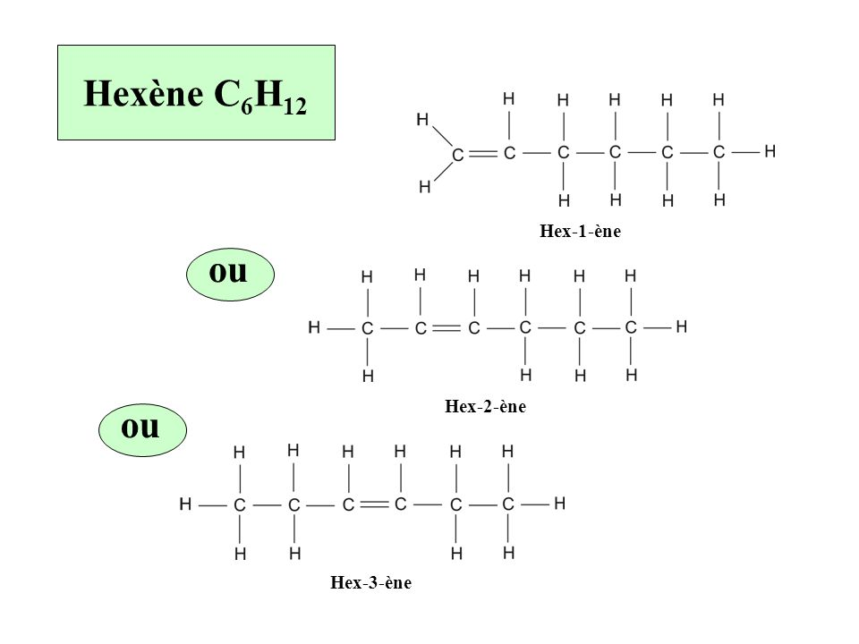 Hexène C6H12 Hex-1-ène ou Hex-2-ène ou Hex-3-ène