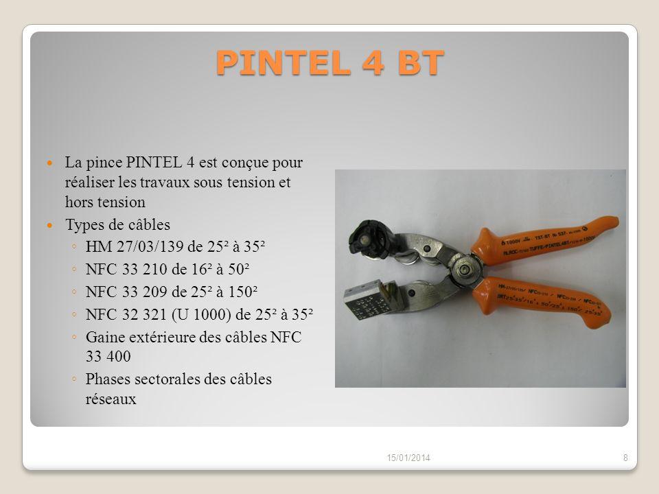 PINTEL 4 BT La pince PINTEL 4 est conçue pour réaliser les travaux sous tension et hors tension. Types de câbles.