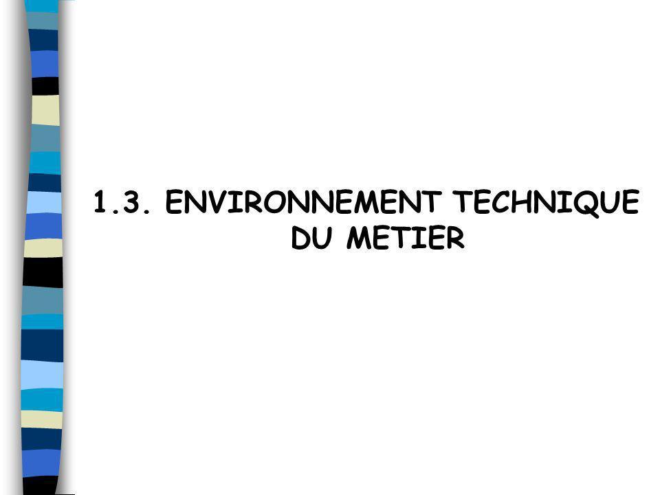 1.3. ENVIRONNEMENT TECHNIQUE DU METIER