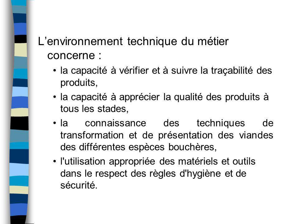 L'environnement technique du métier concerne :