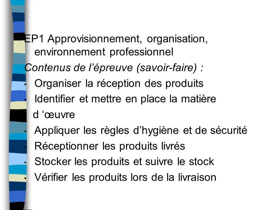 EP1 Approvisionnement, organisation, environnement professionnel