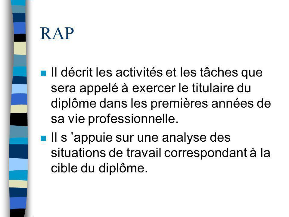 RAP Il décrit les activités et les tâches que sera appelé à exercer le titulaire du diplôme dans les premières années de sa vie professionnelle.