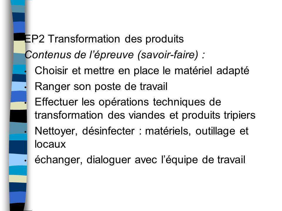 EP2 Transformation des produits Contenus de l'épreuve (savoir-faire) :