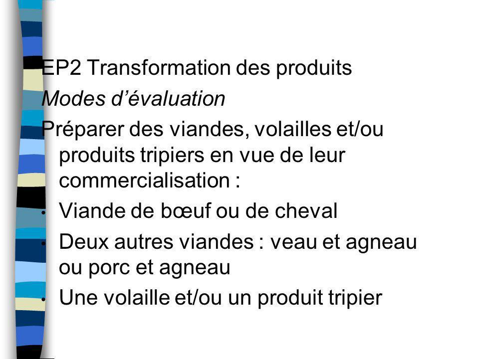 EP2 Transformation des produits Modes d'évaluation